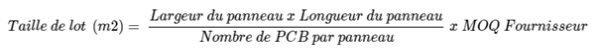 Buymanager - calcul taille de lot PCB